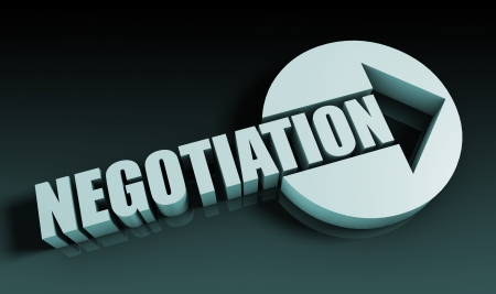 negotiation: Negotiation Concept With an Arrow Going Upwards 3D Stock Photo