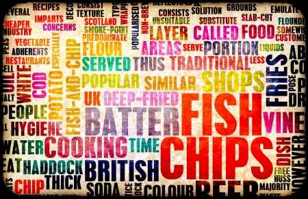 british cuisine: Fish and Chips British Cuisine Menu As Art Stock Photo