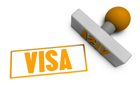 Visa Stamp or Chop on Paper Concept in 3d Stock Photo - 21435139
