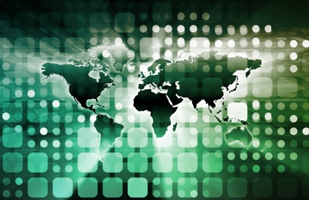 linked services: Technology Services on World Map Digital Art
