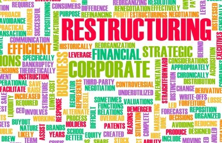 Umstrukturierung und dem Abbau in einem Unternehmen Konzept