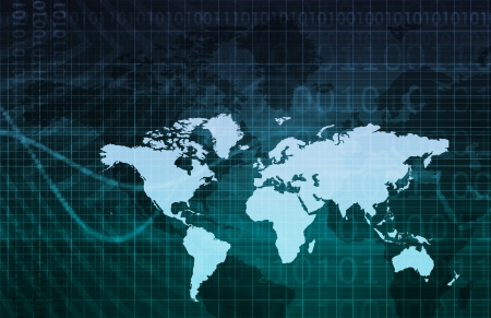 Business Technology Background With World Map Art photo