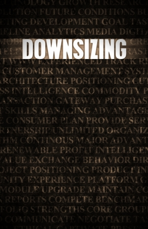 downsized: Downsizing in Business as Process in Stone Wall Stock Photo