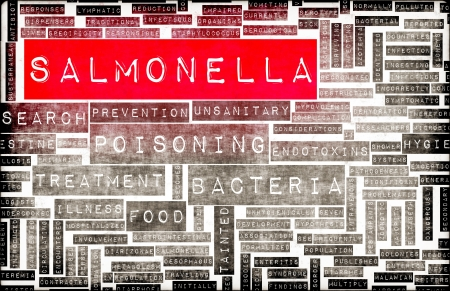 salmonella: Salmonella Food Poisoning Concept Awareness and Prevention Stock Photo