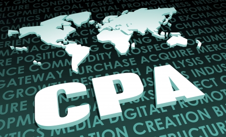 CPA Industry Global Standard on 3D Map Stock Photo