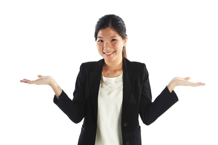 both: Asian Woman with Both Empty Palms Hands Out Stock Photo