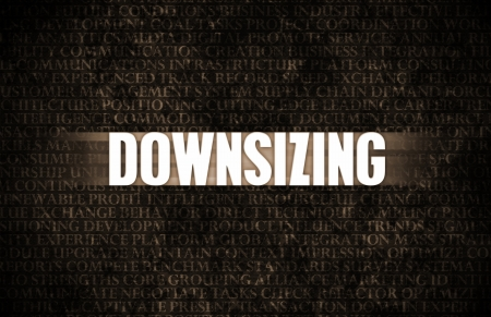 downsizing: Downsizing in Business as Process in Stone Wall Stock Photo