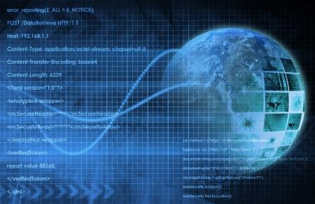 Tło internet z kodu i technologii Świata