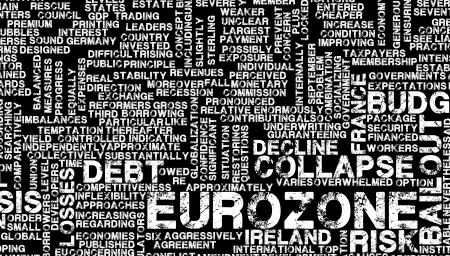 downgrade: Eurozone Crisis and Debt Problems in Europe Stock Photo
