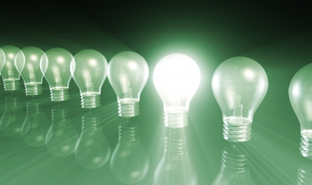 problem solving: Innovation with Special Light Bulb Lit As Concept