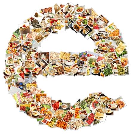 e alphabet: Food Art E Lowercase Shape Collage Abstract Stock Photo