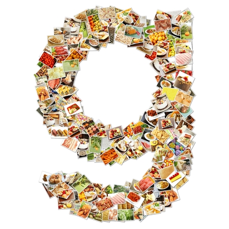 g alphabet: Food Art G Lowercase Shape Collage Abstract Stock Photo