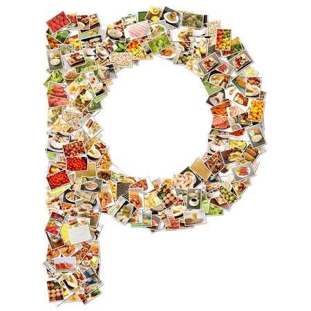 Food Art P Lowercase Shape Collage Abstract photo
