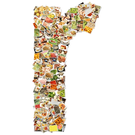 Food Art R Lowercase Shape Collage Abstract photo