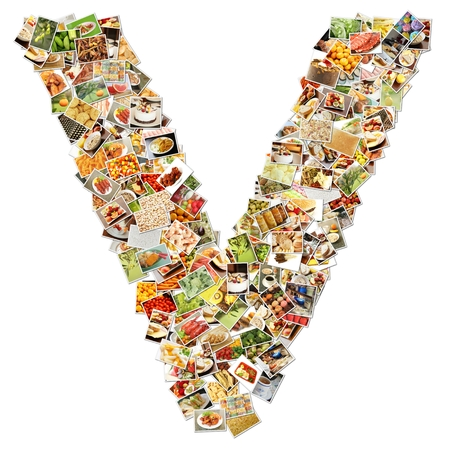 Food Art V Lowercase Shape Collage Abstract photo