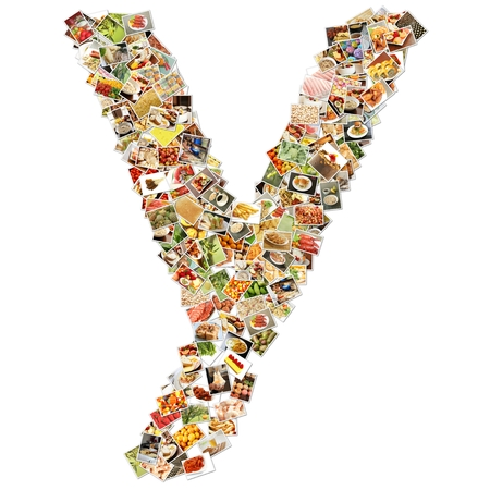 y shaped: Food Art Y Lowercase Shape Collage Abstract Stock Photo