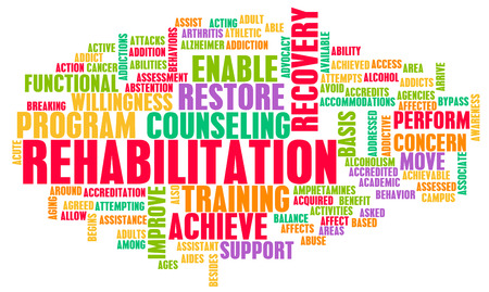 drug therapy: Rehabilitation or Rehab of a Condition as Concept Stock Photo