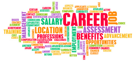 employee satisfaction: Career Word Cloud with Tags on White as a Concept