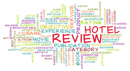 reviewer: Hotel Review Word Cloud as a Concept Stock Photo