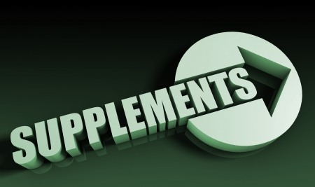 supplements: Supplements Concept With an Arrow Going Upwards 3D Stock Photo
