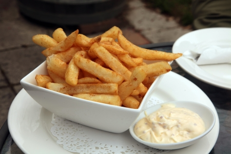 French Fries with Aioli Mayonaise Dip Meal photo