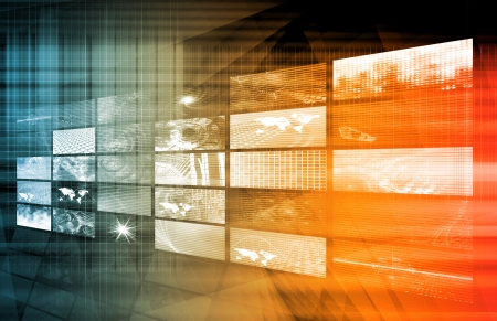 montage: Media Telecommunications Concept with Video Wall Art Stock Photo