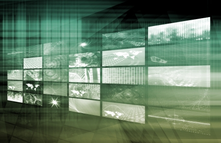 Media Telecommunications Concept with Video Wall Art Stock Photo