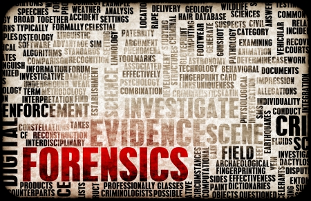 crime scene: Los forenses o ciencia forense como un concepto Foto de archivo