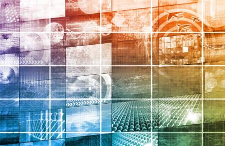 technological: Global Multimedia Technology in Web Data  Art Stock Photo