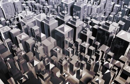 Futuristic City with Metallic Buildings and Skyline photo