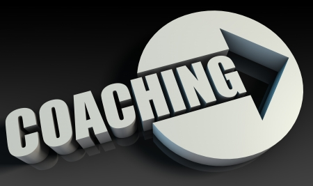 life coaching: Coaching Concept With an Arrow Going Upwards 3D Stock Photo