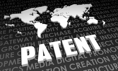 patent: Patent Industry Global Standard on 3D Map Stock Photo