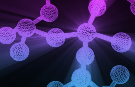 microcosm: Molecular Structure with Connected Molecule As Art Stock Photo