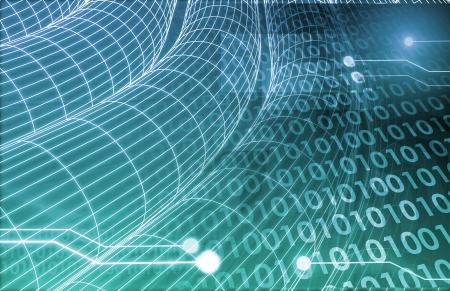 Digitale Beeldspraak met Data Network Transfer kunst Stockfoto