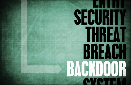 tainted: Backdoor Entry Computer Security Threat and Protection Stock Photo
