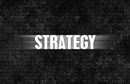 strategic advantage: Strategy in Business as Motivation in Stone Wall Stock Photo