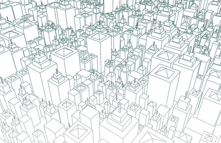 Wireframe City with Buildings and Blueprint Design Art photo