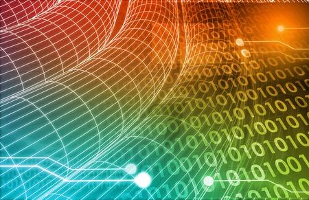 Concept de la technologie avec un système d'information en ligne des données Banque d'images