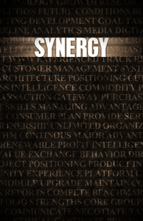 synergies: Synergy in Business as Motivation in Stone Wall Stock Photo