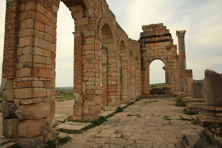 abandoned city: Volubilis Roman City in Meknes Morocco