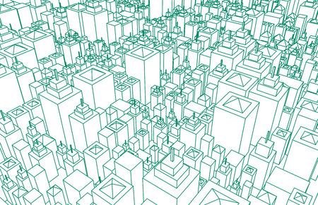 近代建築メッシュ都市ワイヤ フレーム線基本