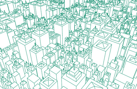 Modern Architecture Mesh City Wireframe Lines Basic Stock Photo