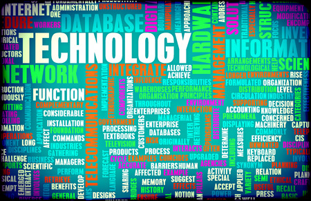 latest: Technology Concept as a Abstract Word Cloud Art