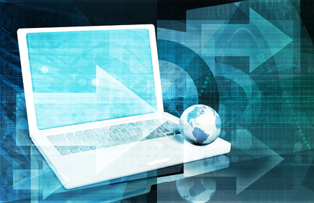 management system: Internet Technology and a Global Network System Art Stock Photo