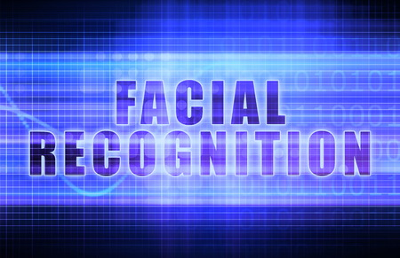 acknowledgement: Facial Recognition on a Tech Business Chart Art Stock Photo