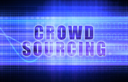 crowd sourcing: Crowdsourcing on a Tech Business Chart Art