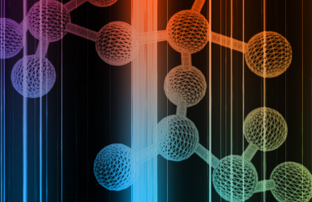 Molecule DNA Cell in Wireframe Mesh Art photo