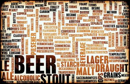 pilsener: Beer Concept Menu for Ordering and Drink Types  Stock Photo