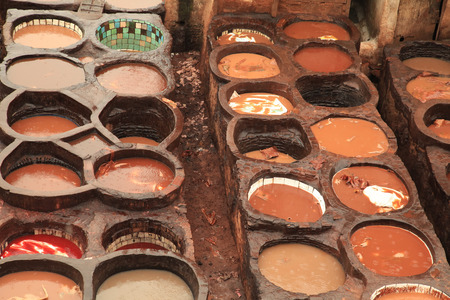 hides: Morocco Tannery in Fez or Fes with Dye Pits
