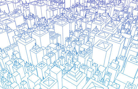 shiney: Futuristic City with Metallic Buildings and Skyline Stock Photo
